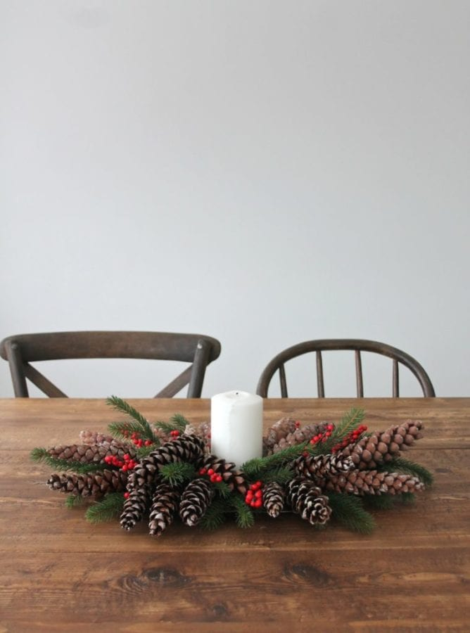 DIY Christmas Centerpiece with Greens and Pinecones